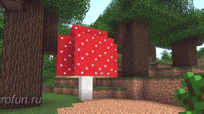 Большой красный гриб мухомор растет в игровом мире Майнкрафт