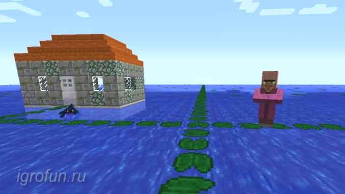 Кувшинки позволяют ходить по воде в игровом мире Minecraft